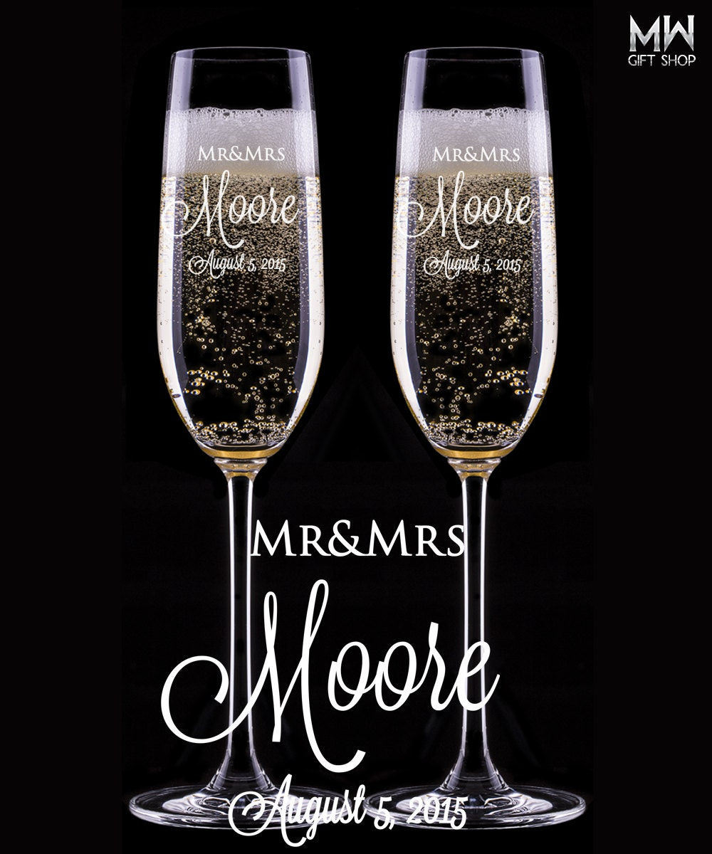 wedding champagne glasses engraved champagne flutes