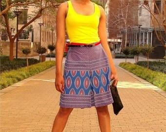 Shweshwe Inverted Pleat Skirt