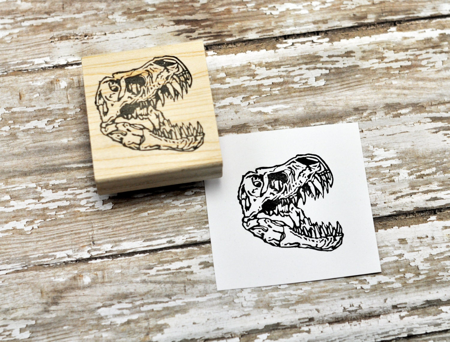 T rex skull stamp hand carved rubber by geekstamps