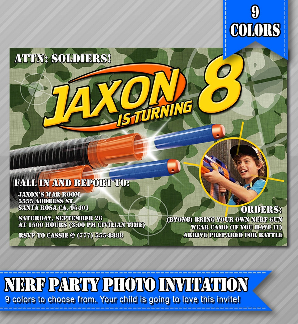 nerf party invitations nerf wars invitations by wolcottdesigns. Black Bedroom Furniture Sets. Home Design Ideas