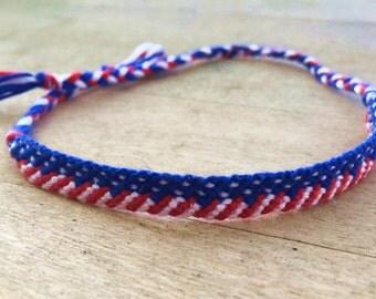 Handmade American Flag Bracelet, Red White and Blue Friendship Bracelet, Handmade Macrame Bracelet, String Bracelet, Patriotic Bracelet