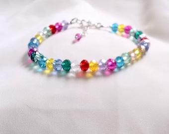 Crystal Bracelet - Rainbow Crystal Bracelet - Hippy Bracelet -