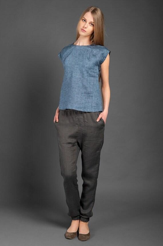 Unique Top White Top Linen Grey Pants Linen Pants Fair Trade Womens Linen Trou