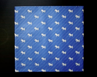 Vintage   Dark Blue Scottie Dog Wrapping Paper   Blue and Grey Stripe   Dogs with Bows   1980's
