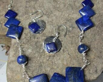 E-021 set lapis lazuli square, free shipping / Free Shipping