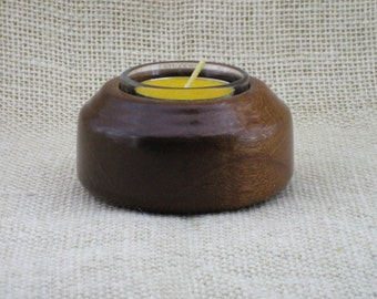 Handmade Sapele wood Tealight candle holder with glass insert. The tealight candle is not included. Sapele tea light candle holder.