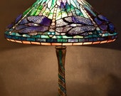 Tiffany Dragonfly stained glass lamp. Mosaic lampbase Tiffany lampshade. Dragonflies stained glass.