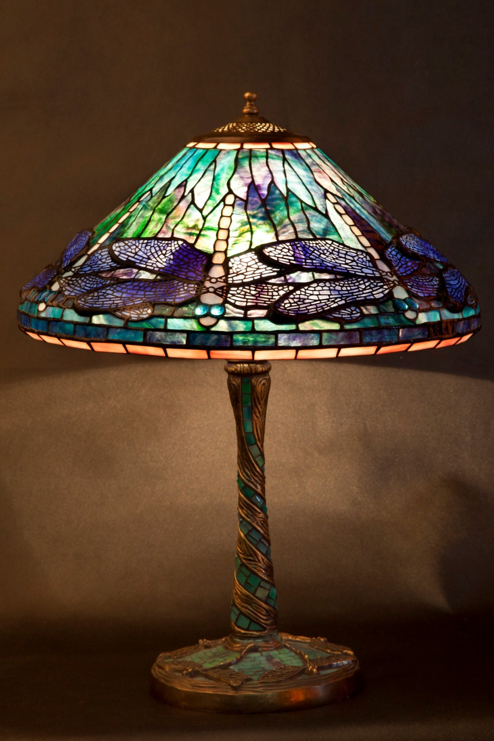 Dragonfly lamp stained glass tiffany lamp desk lamp for 1908 studios tiffany blue dragonfly floor lamp
