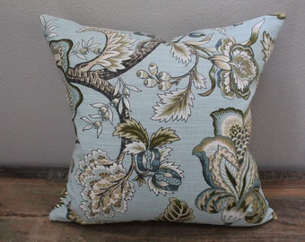 Blue Beige Brown Floral Pillow Cover
