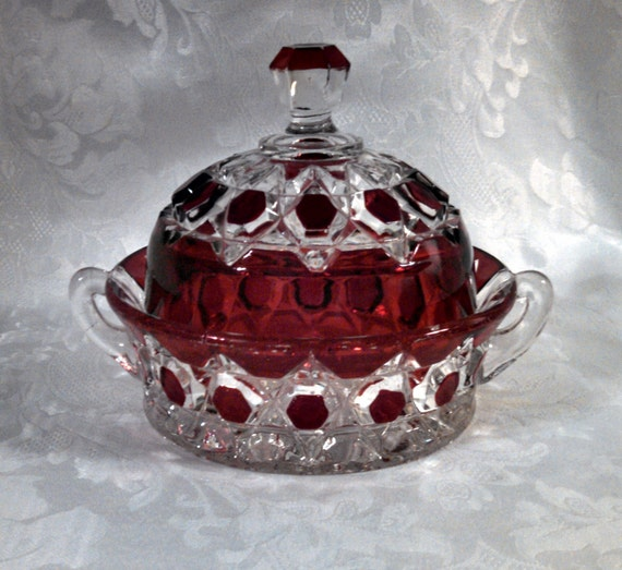 Antique 1890s Victorian EAPG Red Block Ruby Stained Pressed