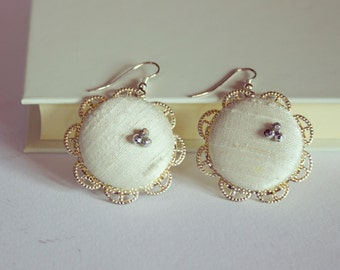 Dangle White Silk covered Buttons Earrings