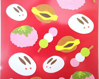 Japanese mochi treats chiyogami paper stickers - kawaii Japanese snacks - dango mochi - yuzen - cute chubby bunny rice ball - sakuramochi
