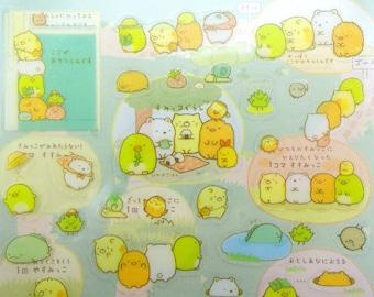 Sumikko Gurashi Japanese mochi creature San-X GLITTER stickers - kawaii bear - neko cat - Shiro Kuma - Penguin - Tokage - Suzume - Tonkatsu
