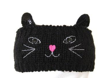Cat Head Wrap, Cat Crochet Headband, Kitty Ears Headband, Ear Warmer Head wrap, Cat Headband, Gift Ideas, Kitty Costume, Crochet Cat Ears