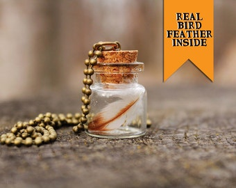 Real Bird Feather in a Mini Glass Bottle Necklace.