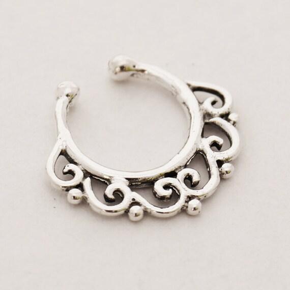 Sterling silver fake septum ring