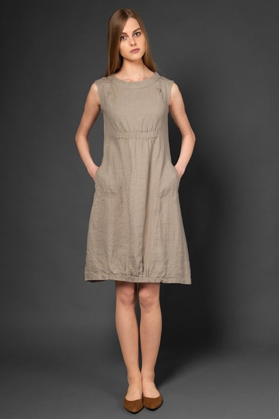 Items similar to Pure linen dress, taupe dress for summer ...