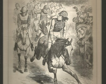 vintage   1867 punch black and white cartoon entitled the derby 1867 wall art