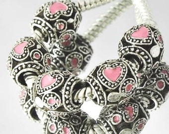Pink Heart European Charm  for all European Charm Bracelets