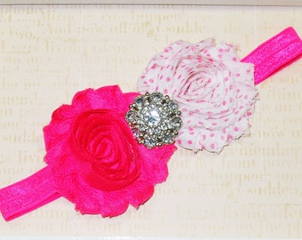 Baby Headband, Hot Pink and Polka Dot Stretch Girl Headband, Stretch Infant Headband, Shabby Flower Baby Headband, Frayed Flower Headband