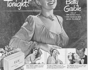 Lux Soap Vintage Magazine Ad Featuring Betty Grable Promoting Her Movie The Shocking Miss Pilgrim   Golden Age of Hollywood Lux Girl