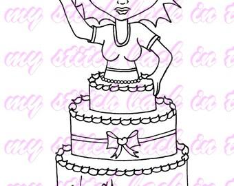 Digital stamp colouring image - Birthday Charlee. jpeg / png
