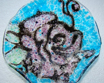 Rose frit catch all fused glass bowl with ruffle edge,mother's day,pastel mix,elegant, floral, rose lover, for her, hostess gift, wedding