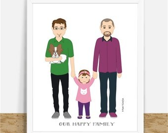 Gay Custom Family Portrait- Gay Couple Illustration- Gay Art- Gay Gifts Ideas- Digital Custom Cartoons- Printable Art- Gay Family Drawing