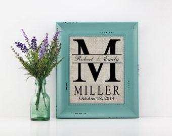 Personalized Monogram Burlap Print Wedding Gift, Housewarming Gift, Anniversary Gift, Bridal Shower Gift