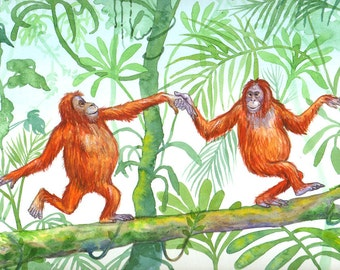 "Signed A4 Limited Edition Giclee Animal Print ""Dancing Orangutans"", for those who love Orangutans! By Laura Robertson"