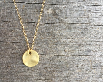 Tiny Gold Disc Necklace -Hammered Disk Necklace - Modern Necklace - Gold Disk Necklace - Small Circle Necklace - Simple Necklace