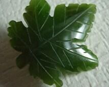 Green Spinach Jade Leaf Brooch Natural Carved Polished Gemstone Vintage Natural Stone Pin