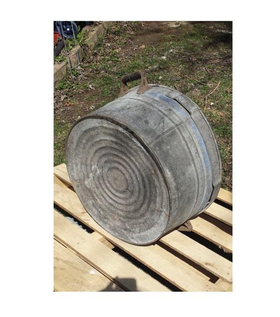 Vintage Galvanized Steel Metal Wash Tub Sink Basin Planter W/ Wood ...