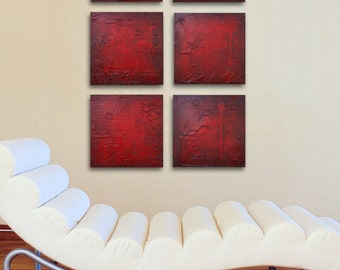Modern art abstract red panels. Mix and Match painting panels. Contemporary painting 12 x 12 panels. Original wall art multi panel by Hahn.