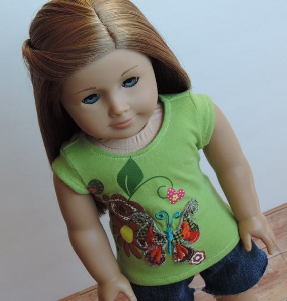 Upcycled Green Butterfly T-Shirt - American Girl Doll Clothes