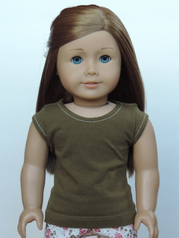 Upcycled Moss Green T-Shirt - American Girl Doll Clothes