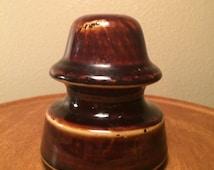 "Vintage Antique PINCO 3-1/2"" Golden Brown Porcelain Collectible Insulator Ceramic Pinco with Golden Brown Glaze"