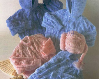 baby / child sweaters jackets hat dk knitting pattern 99p pdf