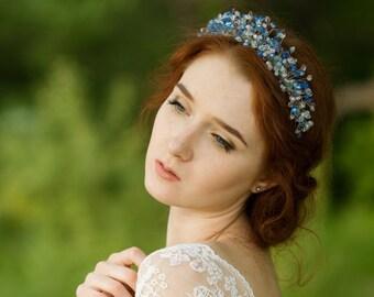 Blue wedding tiara Aqua blue wedding crown Crystal tiara Blue bridal tiara Blue headpiece Bridal hair accessories Wedding tiara Diadem