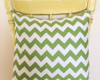 Cushion Cover - Bright Lime Green Chevron Cushion Cover for Nursery, Children's Bedroom or Playroom, 40cm/16in.