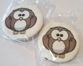 Owl Cookies! Owl Theme! Custom! Baby Shower Cookies! Bridal Shower Cookies! Includes 12 Indv Wrapped Cookies With Your Image on the COOKIE!