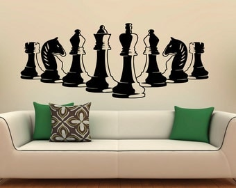 Chess Pieces Wall Decal Vinyl Stickers Strategy Board Game Interior Home Design Art Murals Bedroom Decor (3c01s)