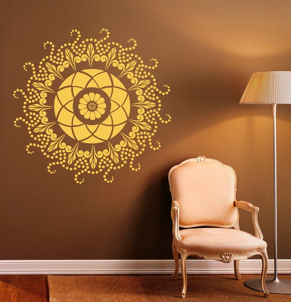 mandala wall decal indian pattern vinyl stickers namaste yoga. Black Bedroom Furniture Sets. Home Design Ideas