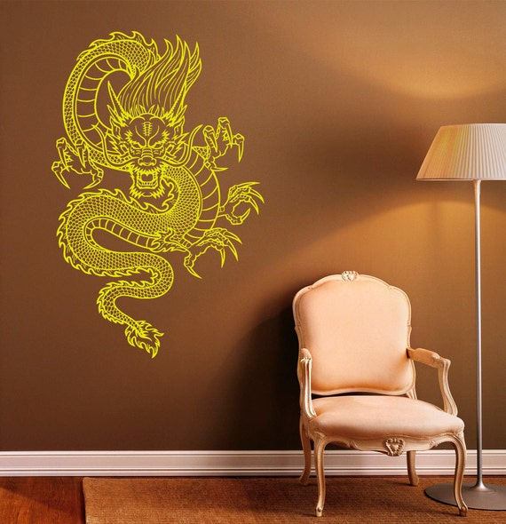 Chinese dragon wall decal vinyl stickers chinese style home for Interieur stickers