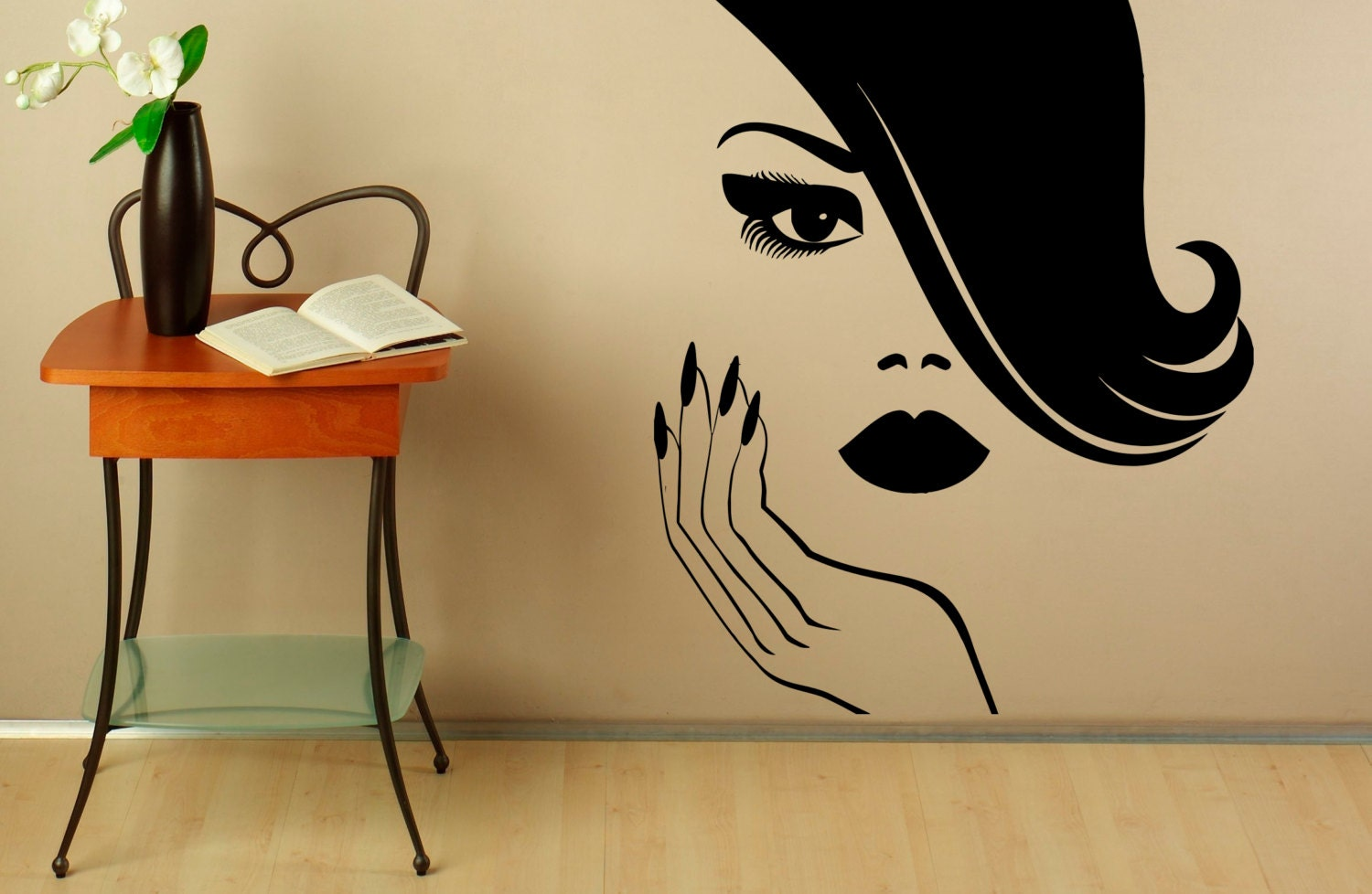 Manicure wall decal vinyl stickers beauty girl hands nails - Stickers salon design ...