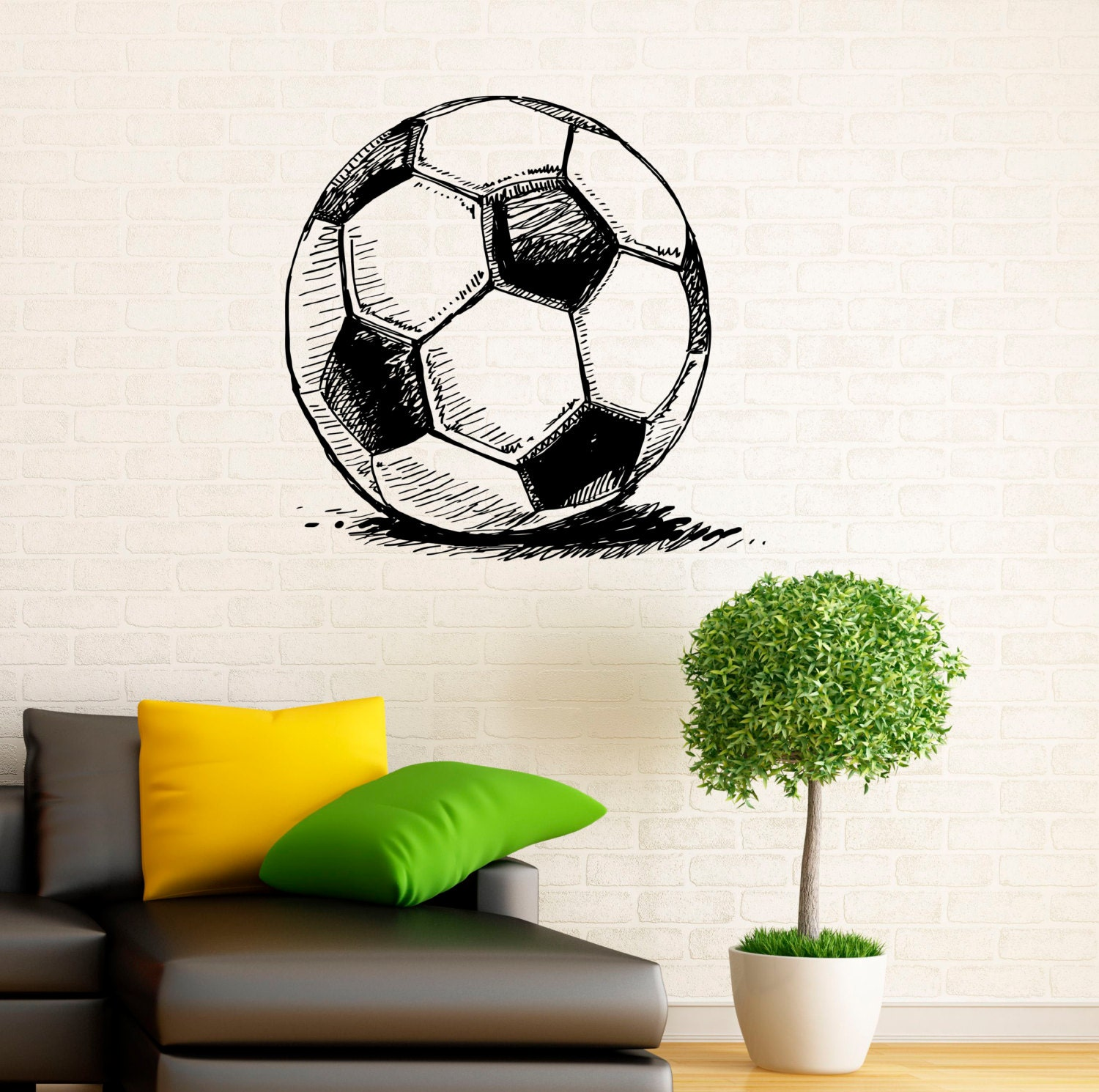 soccer ball wall decal football vinyl stickers sport game vinyl wall decal art sticker soccer football goal net