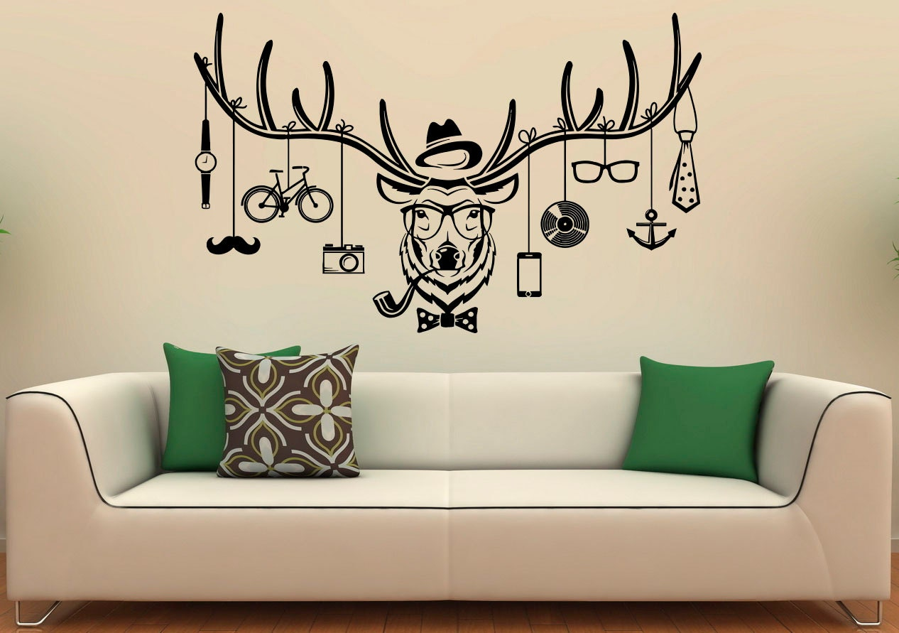 deer hipster wall decal deer antlers vinyl stickers wild animals interior home design wall art murals - Design Wall Decal