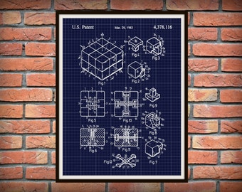 1983 Rubik's Cube Patent Print - Spatial Logical Toy Art Print - Poster - Brain Teaser Patent - Rubiks Cube - Game Patent - Big Bang Theory