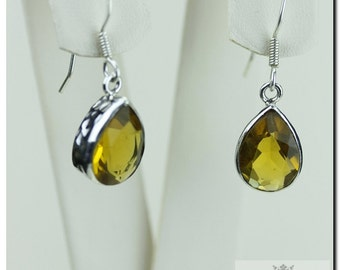 Tear DROP BRANDY CITRINE 925 Solid (Nickel Free) Sterling Silver Italian Made Dangle Earrings  E440