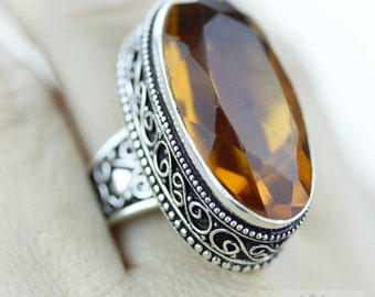 Size 8.5 - HEAT Treated Brandy CITRINE 925 S0LID (Nickel Free) Sterling Silver Vintage Setting Ring & FREE Worldwide Express Shipping R1794